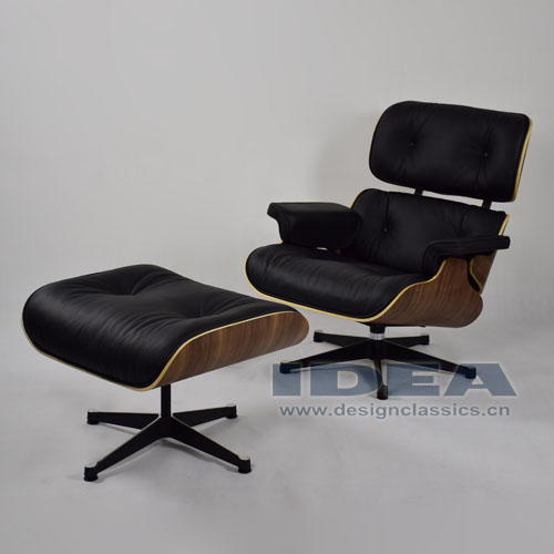 Eames Lounge Chair and Ottoman Walnut Shell Black Leather