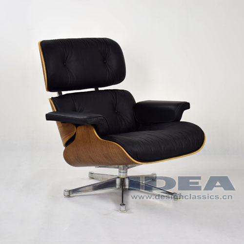 Eames Lounge Chair Walnut shell Black leather Polished Aluminum Base