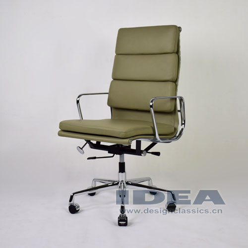 Eames Softpad High Back Office Chair Light Grey Leather